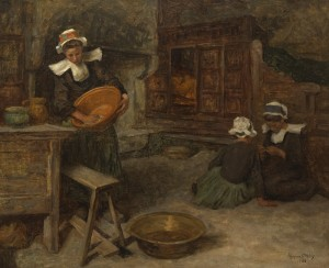Aloysius O'Kelly (1853-1936)  Breton women in a kitchen 1905 (25,000-35,000).