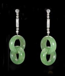A pair of Art Deco diamond and jade set earrings (10,000-15,000)