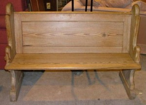 A Victorian pitch pine church pew is estimated at 180-250.
