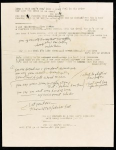 BOB DYLAN - MOST LIKELY YOU GO YOUR WAY (AND I'LL GO MINE)', PARTIAL AUTOGRAPH MANUSCRIPT AND AUTHORIAL TYPESCRIPT (£30,000-50,000).