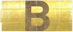Danh Vo Alphabet B 2011 gold leaf on unfolded cardboard box