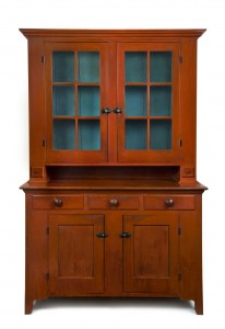 Allan Katz Americana. Step-Back Cupboard. Attributed to Mennonite craftsmen. Wayne County, Ohio, c. 1840. Completely original red and blue paint.