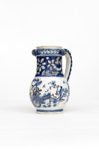 Aronson of Amsterdam. Delft Puzzle Jug, with Chinoiserie garden. c. 1725.