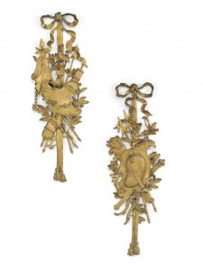 A PAIR OF FRENCH ORMOLU WALL TROPHIES OF LOUIS XV STYLE, LATE 19TH CENTURY (£2,000-4,000).  Courtesy Christie's Images Ltd., 2014.