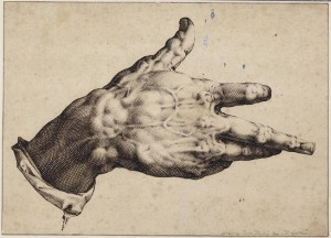Hendrick Goltzius (Mühlbracht 1558-1617 Haarlem)  Study of a hand  (£300,000-500,000). Courtesy Christie's Images Ltd., 2014.