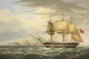 H.C.S. WARREN HASTINGS OFF ASCENSION ISLAND by George Mounsey Wheatley Atkinson  (5,000-7,000).