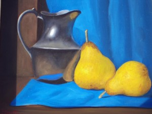 'Still Life Silver Jug with Pears' by Paul Kavanagh.
