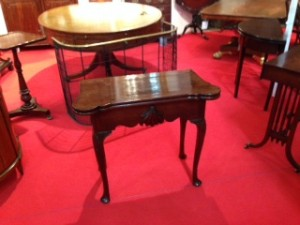 A rare George I Irish card table in original condition with scallop shell motif at Niall Mullen Antiques.