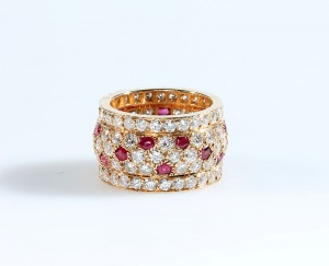 A Cartier ruby and diamond ring (6,500-7,000).