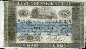 An Ulster Bank £5 note from 1906 estimated at £2,500-3,000.