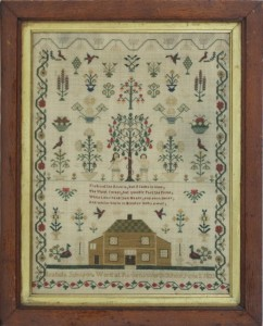 A sampler dated June 2, 1833 by Isabella Johnson (750-850).
