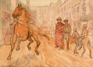 Jack B. Yeats The Young One, dated 1891 on label.
