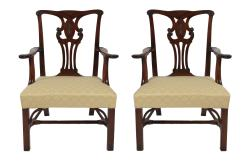 Pair of George III Chippendale elbow chairs (2,400-2,800)