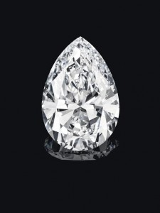 A pear-shaped diamond weighing approximately 75.97 carats. Courtesy Christie's Images Ltd., 2014.