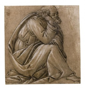Study for a seated St. Joseph, his head resting on his right hand Pen and brown ink heightened with white over black chalk, on beige-pink washed paper. Squared in black chalk for transfer (£1-1.5 million).
