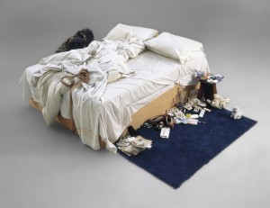 TRACEY EMIN (B. 1963) My Bed mattress, linens, pillows and objects (£800,000-1.2 million).  Courtesy Christie's Images Ltd., 2014.