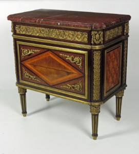 "A c1900 commode in the Louis XVI style stamped Millet on body and signed ""Millet a Paris"" on lock (4,000-6,000)"