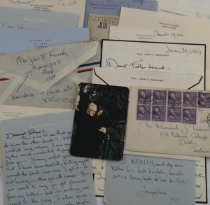 A selection of the letters and a photo of Mrs. Kennedy with Fr. Leonard in 1950.