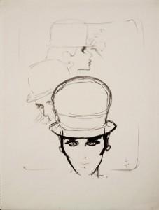 Rene Gruau (1909 - 2004) Hat for Jean Barthet for AD Design 1960, Ink. (£8,000).