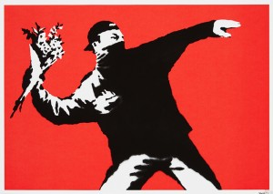 Banksy (British, b.1974) LOVE IS IN THE AIR, 2003 Number 417 from an edition of 500 (5,000-7,000).