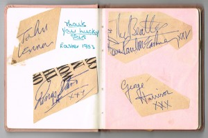 "Beatles autographs:  John Lennon, Ringo Starr XXX"", ""The Beatles love Paul McCartney XXX"" and George Harrison XXX"" on pieces of a magazine they signed for the present owner, then aged 15, on the set of Thank Your Lucky Stars, the first pop chart show on British television (1,500-2,000)"