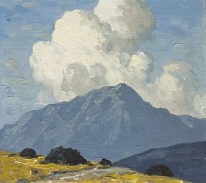 Paul Henry RHA (1876-1958) TURF STACKS WITH MOUNTAIN BEYOND, c.1940 (15,000-20,000)