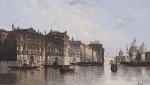 AUGUST VON SIEGEN (GERMAN 1850-1910) Venetian Canal Scene Oil  (3,000-5,000)