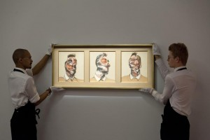 The Bacon triptych at Sotheby's.