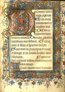 A 15th century illuminated manuscript at Fonsie Mealy's sale.