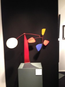 Double Dated by Alexander Calder dates from both 1974 and 1973.   Its presentation against a black wall in a studio space on the stand of Barcelona Gallery Manuel Barbie is magnificent.  The price is undisclosed.