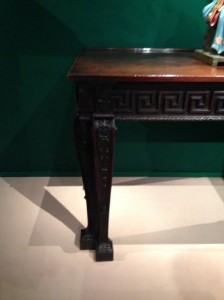 A detail of the table, made in the style of William Kent.