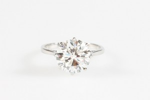 A brilliant cut diamond solitaire ring.