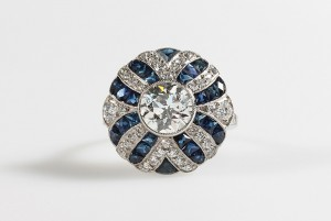 A diamond and sapphire target cluster ring (12,000-14,000)