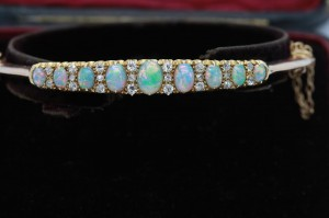 Victorian opal and diamond bangle (4,500).
