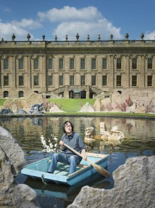 Artist Xu Bing at work at Chatsworth.