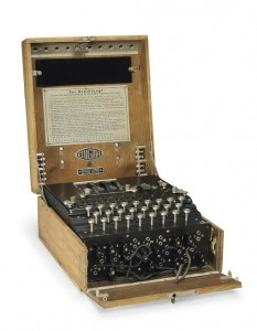 A THREE-ROTOR ENIGMA CIPHER MACHINE c1939 Number A-4127 (£40,000-60,000).  Courtesy Christie's Images Ltd., 2014.