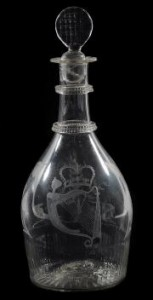 An Irish decanter, possibly by Cork Glass Company, c1800 - cracked (£100.150).
