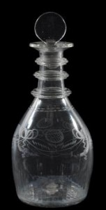 A Waterloo, Cork, decanter and stopper (£300-500).