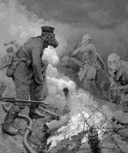 Gas Attack on British Troops in the trenches.