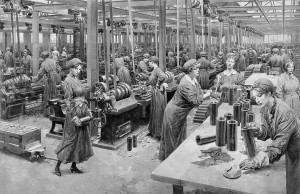 Fortunino Matania R.I. (1881-1963) The new munition workers: A busy scene in a shell factory (£700-1,000). Courtesy Christie's Images Ltd., 2014.