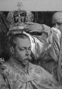 Fortunino Matania R.I. (1881-1963) George V being crowned king by the Archbishop of Canterbury, June 22, 1911 (£500-700).  Courtesy Christie's Images Ltdl, 2014