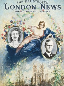 Terence Cuneo (1907-1996) Design for the front cover of The Illustrated London News Royal Wedding Number to commemorate the marriage of Princess Elizabeth and Philip Mountbatten, Duke of Edinburgh, November 1947 (£10,000-15,000). Courtesy Christie's Images Ltd., 2014