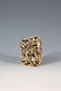 A JAPANESE CARVED IVORY GROUP, 19th Century (600-1,000)