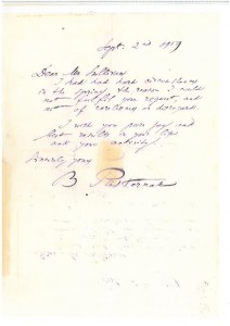An autograph from Boris Pasternak, best known outside Russia as author of Doctor Zhivago.