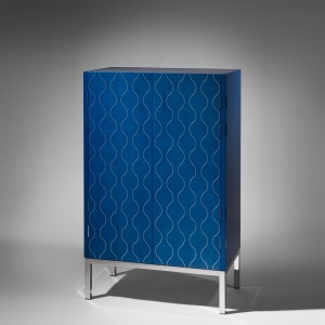 Zelouf and Bell Gimlet cocktail cabinet in blue ripple sycamore inlaid with polished aluminum, mirror-finish stainless steel base, with ivory ripple sycamore, sapphire stone, leather, sterling silver pulls. Limited edition 1/6.  W780 D430 H1255mm