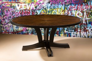 Zelouf + Bell Dark Knight table, to seat 8/10 in starburst-laid European walnut, ebonized walnut, polished aluminum inlay. Hand rubbed satin lacquer finish
