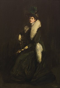Sir John Lavery - LADY IN GREEN (MRS. CARA H)