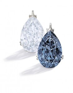 A Magnificent and Rare Fancy Vivid Blue Diamond Pendant The pear-shaped Fancy Vivid Blue diamond weighing 9.75 carats, mounted in platinum. ($10.15 million).