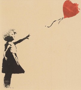 Banksy - Girl with red Balloon (print on linen) open edition (100-200).