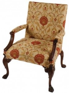 One of a pair of Dublin 19th century Chippendale Gainsborough chairs (4,000-6,000).